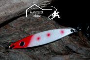 Balzer Seatrout 18 g 8cm Weiß Rot Mefoblinker aus rostfreiem Messing & salzwasserfesten Tigerstahl-Drillingen