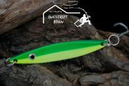 Balzer Seatrout  22 g 8cm Gelb - Grün -  Mefoblinker aus rostfreiem Messing & salzwasserfesten Tigerstahl-Drillingen