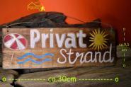 Holzschild Privatstrand - Deko Schild ca. 30 x 10 x 1cm