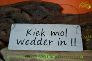 Holzschild Moin Moin Kiek mol wedder in - Maritime Deko Schild ca. 30,5 x 13 cm